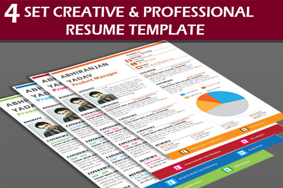 4 Set Creative Professional Resume