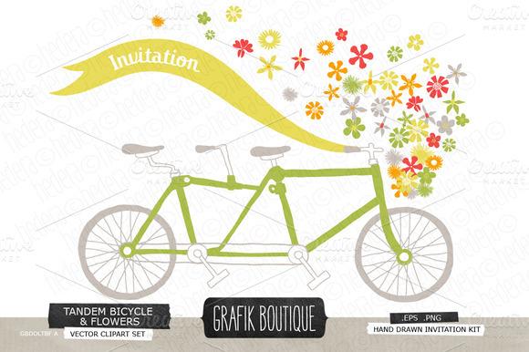 Tandem Bicycle Basket Flowers