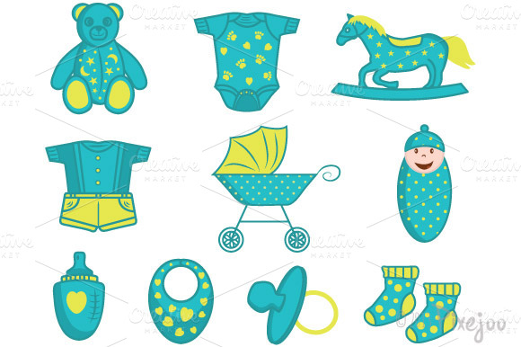 Baby Clipart Elements In Vector