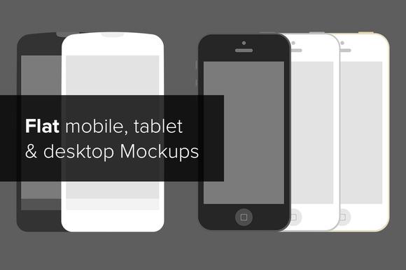Flat Mobile Tablet Desktop Mockup