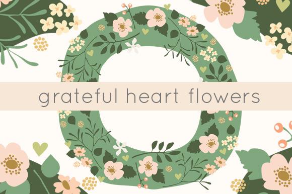 Grateful Hearts Floral Clip Art