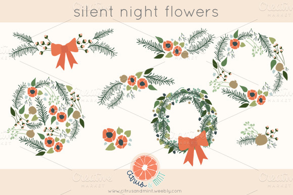Winter Clip Art Flowers And Wreaths