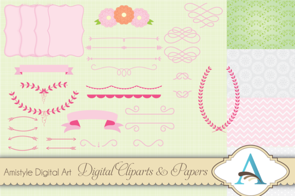 Pink Flower Clipart And Paper Set
