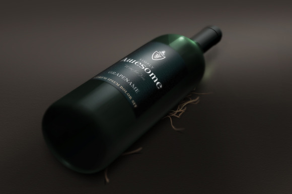 Wine Bottle In Perspective Mock-Up