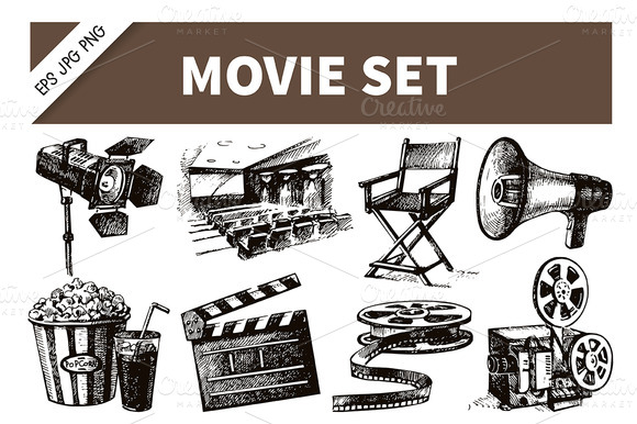 Hand Drawn Vintage Movie Film Set