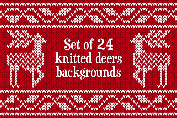 24 Knitted Deers Vector Patterns