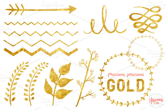 19 Gold Textured Elements