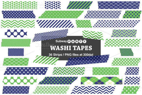 Navy Blue Green Washi Tape Strips