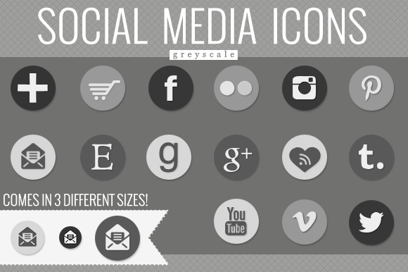 Social Media Icons Greyscale