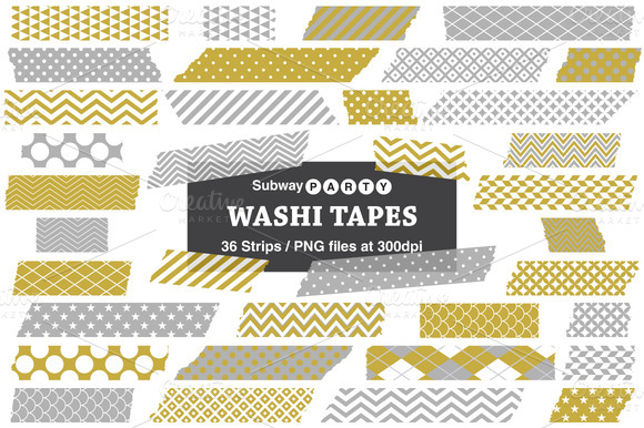 Gold Silver Gray Washi Tape Strips