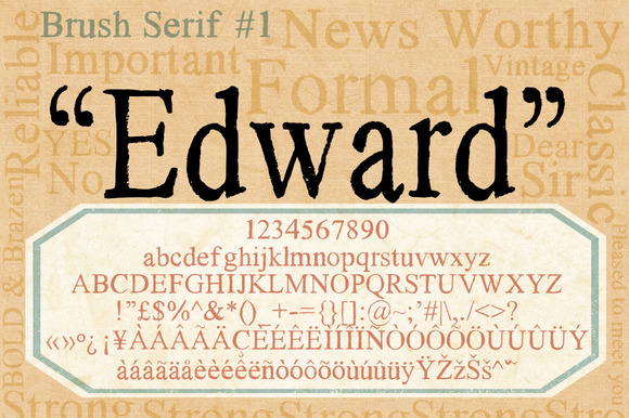 Brush Serif Edward *HAND PAINTED*