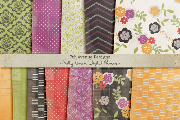 Pretty Linen Digital Papers