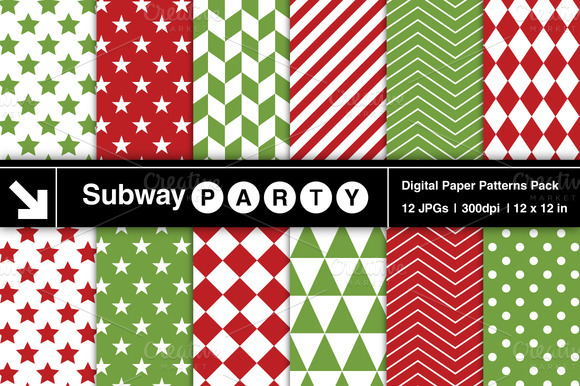 Xmas Red Green Geometric Patterns