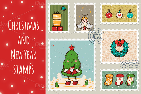 Christmas And New Year Stamps