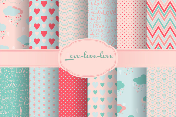 Set Seamless Love Patterns