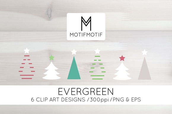 Modern Christmas Tree Clipart Set