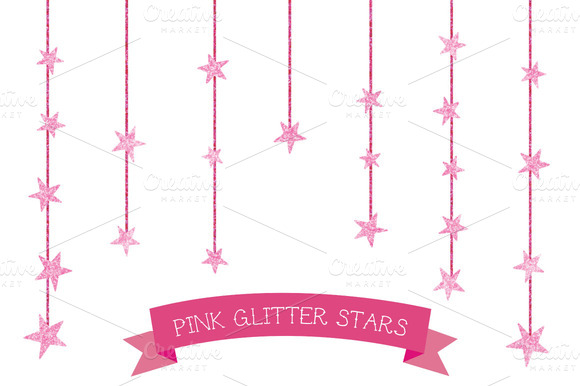 Girly Pink Glitter Stars