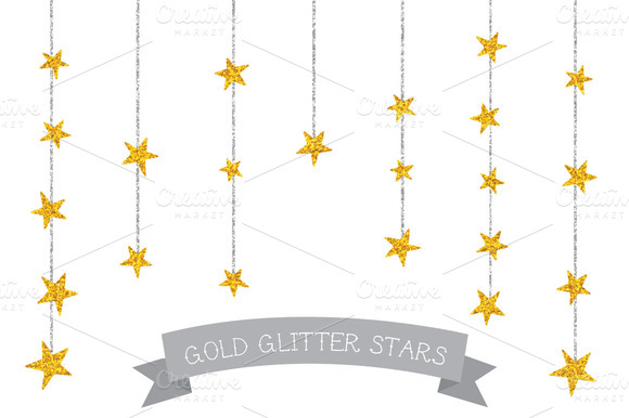 Glitter Gold And Silver Stars