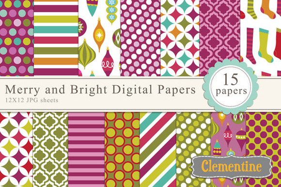 Merry And Bright Digital Papers