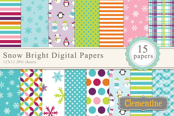 Snow Bright Digital Papers
