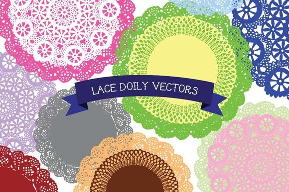 Lace Doily Circle Vectors