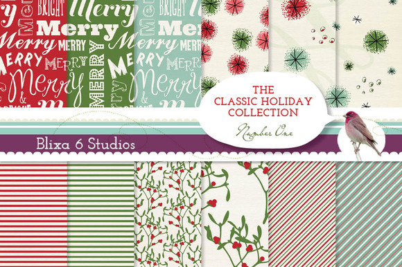 12 Classic Holiday Digital Papers