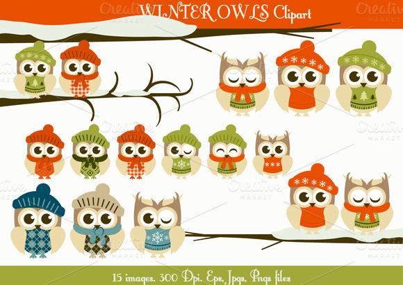 Winter Owls Clipart