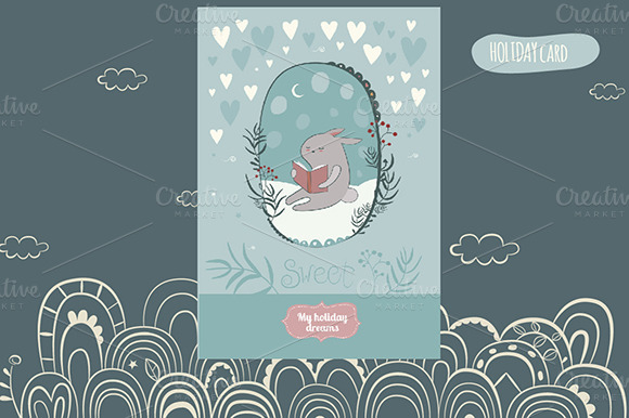Holiday Card With Cute Bunny