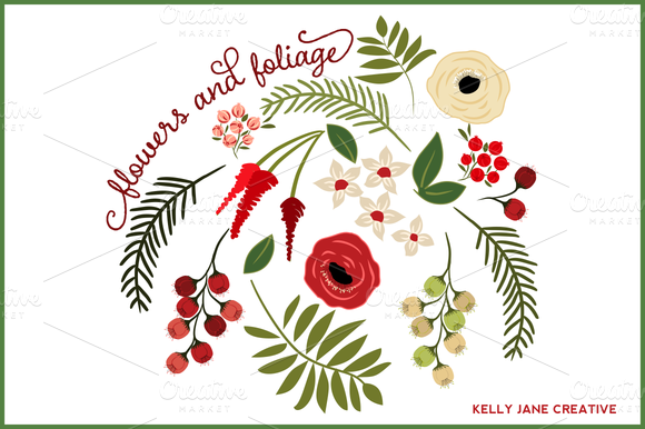 Christmas Flowers Foliage Vector