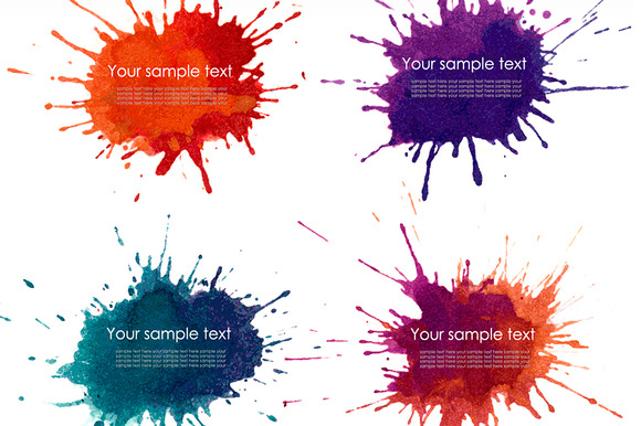 Set Of Splash Watercolour Banner