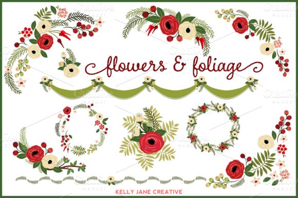 Christmas Flowers Wreaths Vector