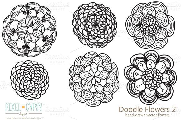 Doodle Flowers 2 Vector