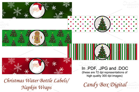 Christmas Water Labels Napkin Wraps