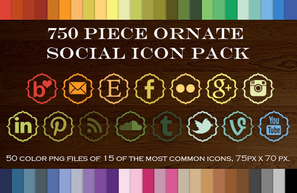750 Piece Ornate Social Icon Pack