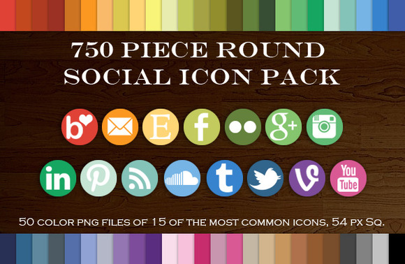 750 Piece Round Social Icon Pack