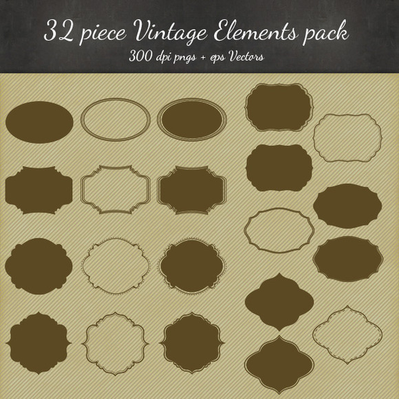 8 Vintage Frame Designs 32 Pieces