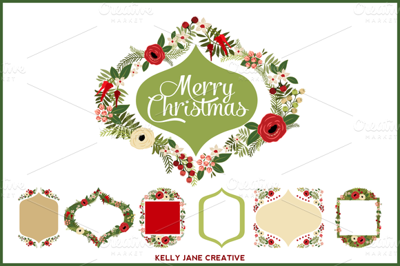 Christmas Wreaths Frames Vector
