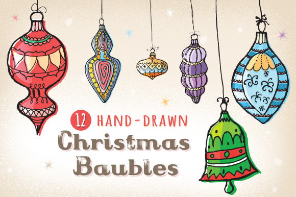 12 Hand-drawn Christmas Baubles