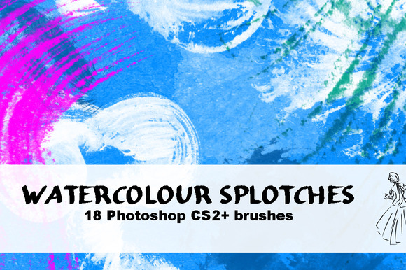 18 Watercolour Splotch Brushes