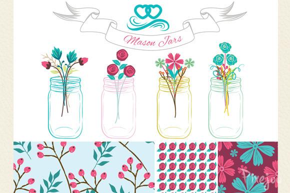 4 Mason Jar Cliparts And 3 Patterns