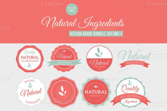 Natural Ingredients Badges Vol 1