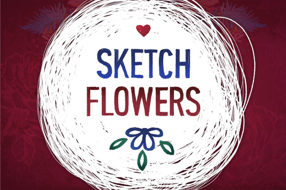 Vintage Flower Vector Sketches