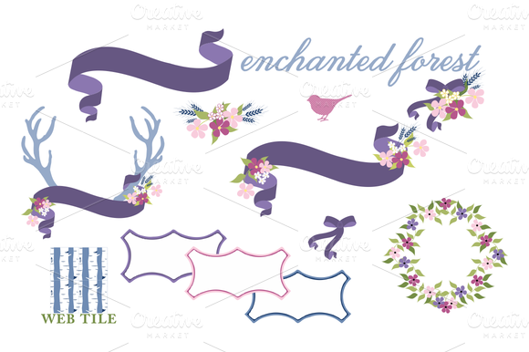 Antlers Birds Floral Vector Set