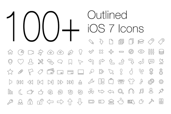 100 Outlined IOS 7 Icons