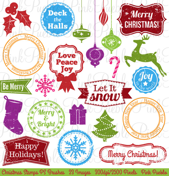 Christmas Stamps Photoshop Brushes