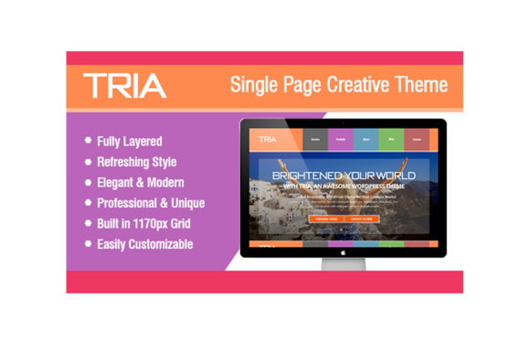 TRIA Single Page PSD Theme