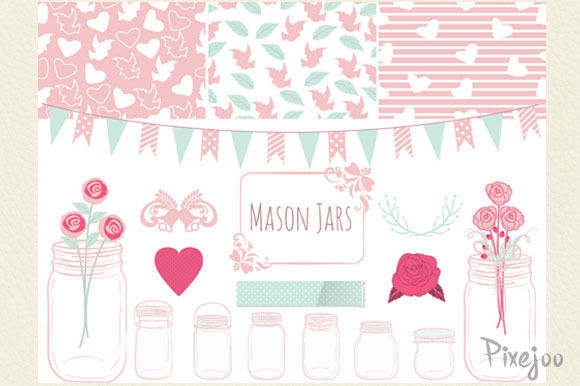 Mason Jar Cliparts Scrapbook