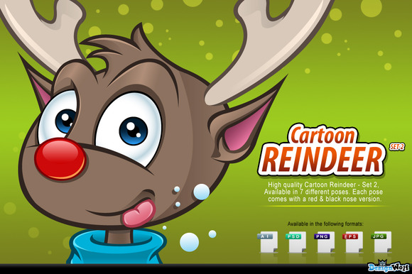 Cartoon Reindeer Set 2