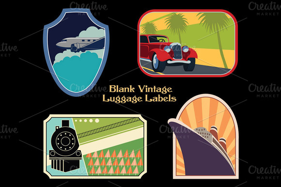 Blank Vintage Luggage Labels
