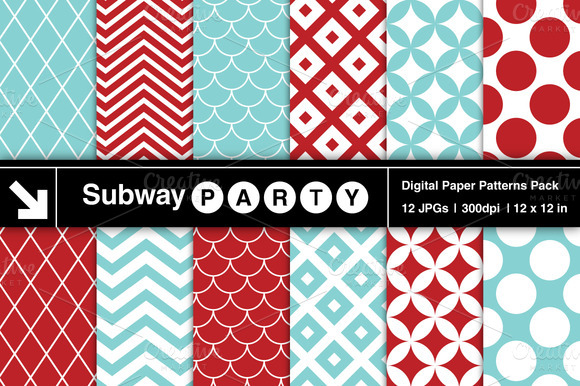 Aqua Red Retro Geometric Patterns